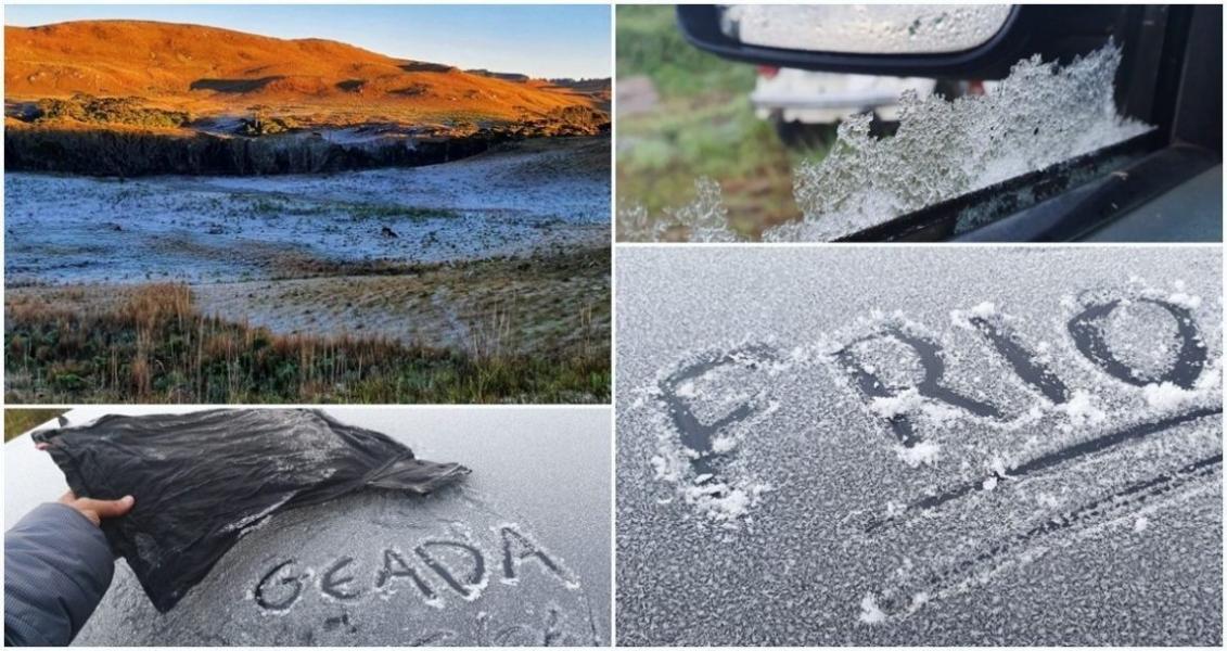 9b43be7de Frio congelante na serra catarinense deixa campos brancos com a geada e  congela até roupas