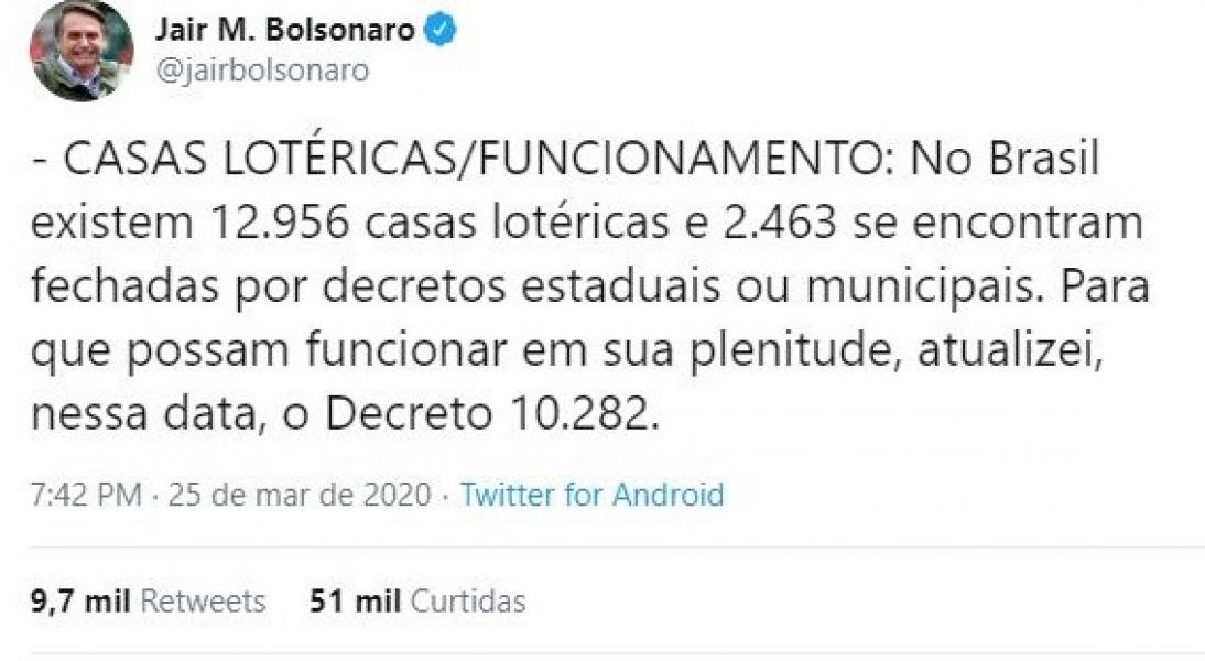 Bolsonaro autoriza abertura de todas as casas lotéricas no Brasil