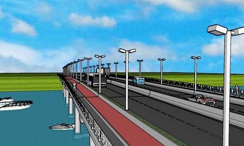 A ponte será em concreto armado, com 200 metros de extensão e 23 metros de largura. Serão duas pistas para veículos, duas ciclovias e duas passarelas para pedestres.