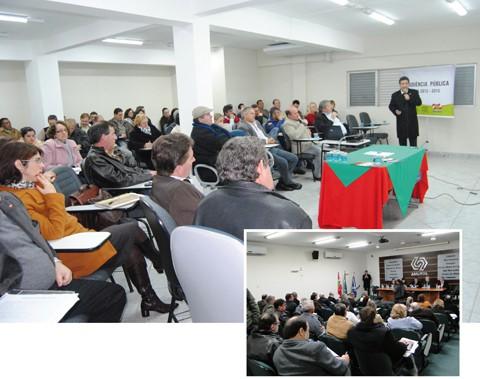 Tanto na SDR em Braço do Norte (foto acima), quanto em Tubarão (detalhe), os gestores e representantes dos municípios debateram as prioridades de investimentos