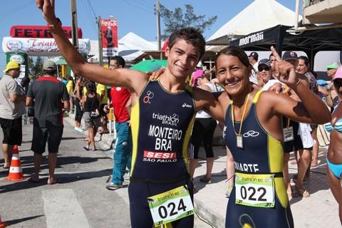 Edmilson Pereira e Jéssica Natália Souza Santos foram os vencedores da prova na categoria elite  -  Foto: Marcus Israel/Divulgação/Notisul