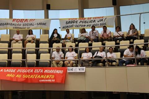 Servidores protestaram em favor de que o Samu continue 100% público - Foto:Alexandre Brandão/Alesc/Notisul
