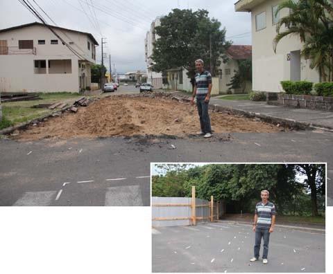 Secretário de infraestrutura da prefeitura de Tubarão, Ricardo Gaspar Cardoso, mostra o andamento das obras de microdrenagem na margem esquerda. Segundo ele, todo o processo será retomado logo que a licença ambiental para o corte de árvores foi expedida
