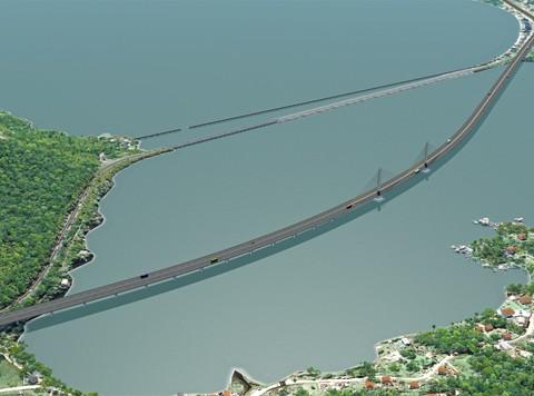 O projeto da transposição sobre o Canal de Laranjeiras foi desenvolvido pelo consórcio Engevix/Iguatemi, com proposta de R$ 2,73 milhões. Imagem: Engevix-Iguatemi/Dnit/Notisul