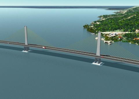 A previsão é que a obra da ponte Anita Garibaldi esteja pronta em dois anos e meio. Imagem: Engevix-Iguatemi/Dnit/Notisul