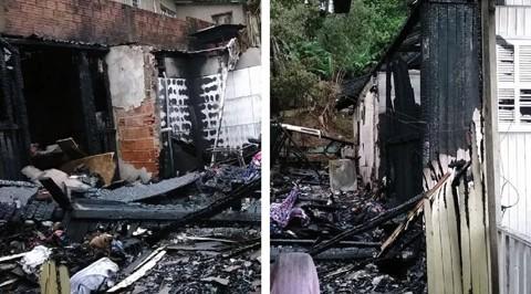 As casas - que ficam lado a lado - foram atestadas pelo Corpo de Bombeiros Militar como totalmente perdidas, com risco de desabar   -    Foto:Divulgação/Notisul