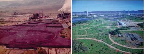 Área utilizada para depósito de carvão entre as décadas de 40 e 90 (E), hoje recuperada pela Tractebel (D)  -  Fotos:Divulgação/Notisul