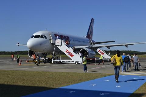 Por mês são mais de 1,8 mil embarques no Aeroporto Regional Sul Humberto Bortoluzzi  -  Foto:Eduardo Zabot/RDL Aeroportos/Divulgação/Notisul