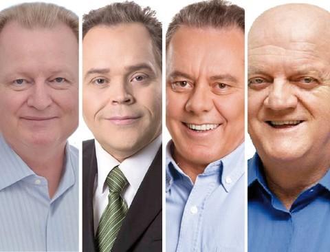 Carlos Stüpp (PSDB), Edi Carlos (PSC), Joares Ponticelli (PP) e Olavio Falchetti (PT) disputam a preferência do eleitorado em Tubarão  -  Fotos:Divulgação/Notisul