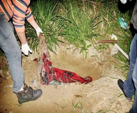 Vítima estava enterrada em uma cova nos fundos de uma casa localizada na região do Beco da Valdete, no bairro Oficinas  -  Foto:DIC de Tubarão/Divulgação/Notisul