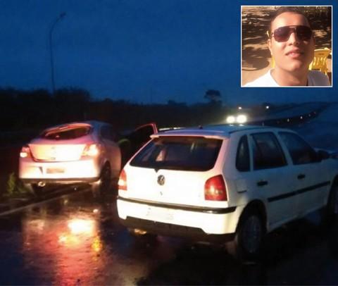 João Victor (detalhe) tinha 27 anos e não resistiu aos ferimentos. Ele morreu ainda no local do acidente. - Foto: Corpo de Bombeiros Militar de Imbituba/Divulgação/Notisul.