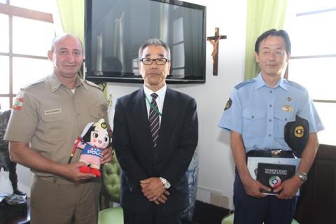 Japoneses definiram últimos detalhes com o comando-geral da PM   -  Foto:Polícia Militar de SC/Divulgação/Notisul