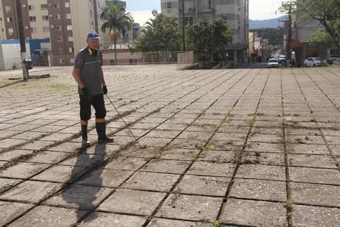 Ivanir Deggerone, funcionário da Catedral, deixou o pátio bonito para a procissão desta quinta-feira  -  Foto:Kalil de Oliveira/Notisul