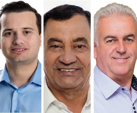 Dr. Vicente (E), Brunel (C) e Nivaldo disputam uma vaga à prefeitura   - Fotos:Divulgação/Notisul