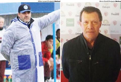 Os treinadores Marcelo Mabilia  (E) e Abel Ribeiro comandam as equipes da Cidade Azul