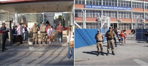 O Colégio São José e o Galotti foram alguns dos locais em que o policiamento esteve presente durante todo o período de votação -  Fotos: Mirna Graciela/Notisul