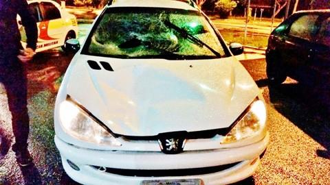 Motorista de Peugeot disse à polícia que pedestre estava acocado no meio da pista, viu o seu carro e deu pulo, mas não deu tempo de desviar   - Foto:Polícia Militar Rodoviária (PMRv)-posto de Gravatal/Divulgação/Notisul