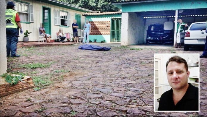 Foto da cena do crime: Leonardo Vassoler/Rádio Chapecó/Divulgação/Portal Notisul. Foto do policial: Arquivo pessoal