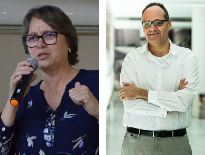 Sisi Blind, presidente em exercício da Fecam, e Samuel de Abreu Pessôa, palestrante, doutor em economia