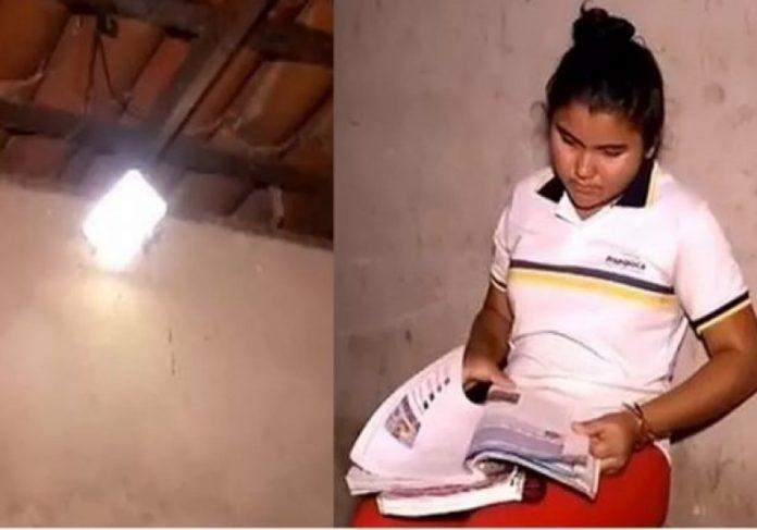 Andressa Sousa, filha da agricultora agora pode estudar até mais tarde Foto: reprodução TV Verdes Mares