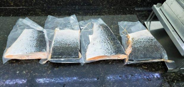#Pracegover Foto: Na imagem há quatro pedaços de peixe em um mármore
