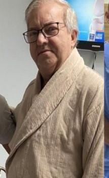 #Pracegover Foto: na imagem há um senhor com roupão, de óculos e cabelos grisalhos em um quarto de hospital