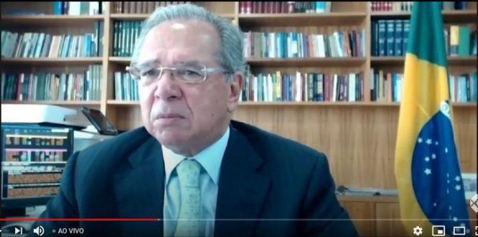 #Pracegover Foto: O ministro da Economia, Paulo Guedes, participa do 39º Encontro Nacional do Comércio Exterior