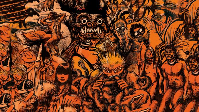 #Pracegover Foto: na imagem há vários desenhos representando humanos em suas diversas formas e um monstro