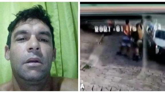 #Pracegover Na foto, uma montagem com duas imagens: à esquerda o rosto de Diego Scott e à direita ele sendo levado por policiais
