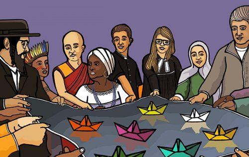 #Pracegover Foto: na imagem há diversas pessoas representando as denominações religiosas e doutrinas