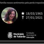 #Pracegover Na foto, a mensagem de pesar da prefeitura de Tubarão com uma imagem de Herta