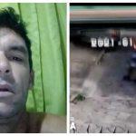 #Pracegover Na foto à esquerda aparece Diego e à direita, ele sendo levado por policiais após briga em família