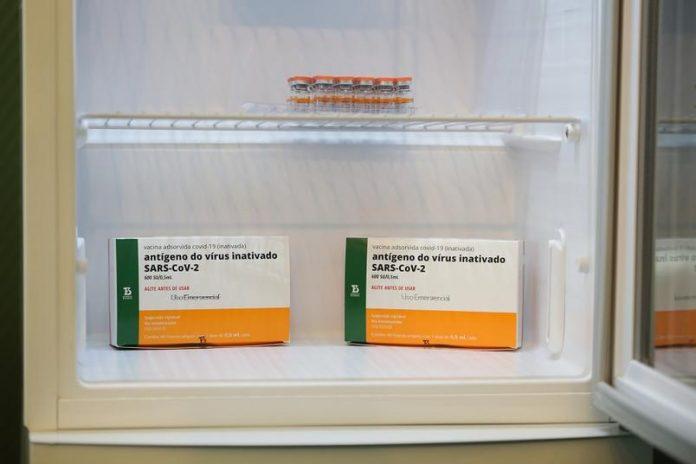 #Pracegover Foto: na imagem há caixas e frascos de vacina em uma geladeira