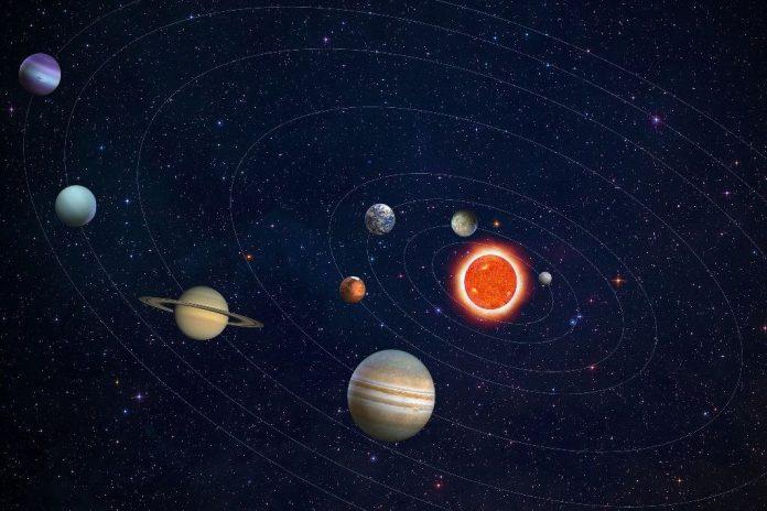 #pracegover Na foto, ilustração de planetas