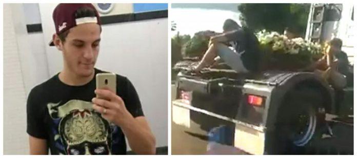 #Pracegover Na foto, à esquerda Matheus fazendo pose em frente ao espelho, e à direita sendo levado em um caminhão