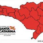 #Pracegover Na foto, mapa de Santa Catarina com as regiões demarcas em vermerlho