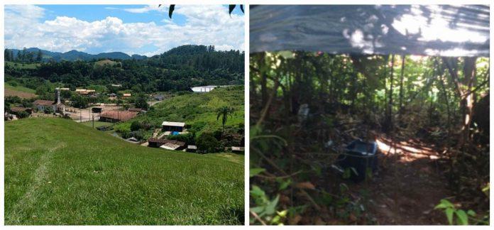 #Pracegover Na foto, à esquerda a vista que o homem tinha do bairro e à direita o local onde se instalou