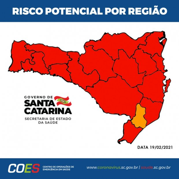 #Pracegover Foto: na imagem há o mapa de SC em cores laranja e amarelo