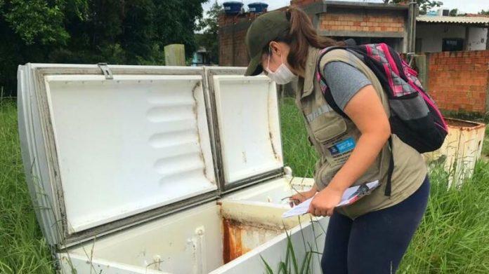 #Pracegover Na foto, uma mulher fiscalizando locais que podem ser foco do mosquito da Dengue