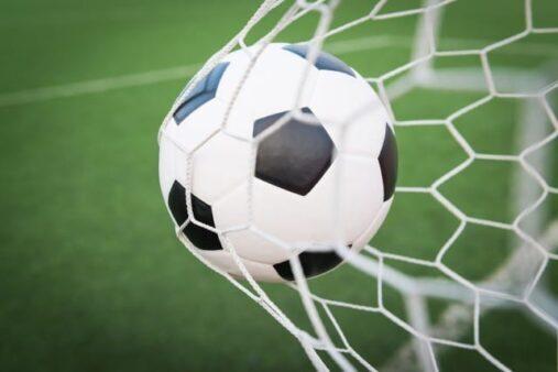 #Pracegover Foto: na imagem há uma rede, uma bola e o gramado