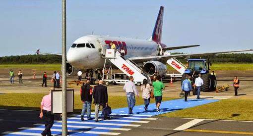 #pracegover Na foto, passageiros embarcando em uma aeronave