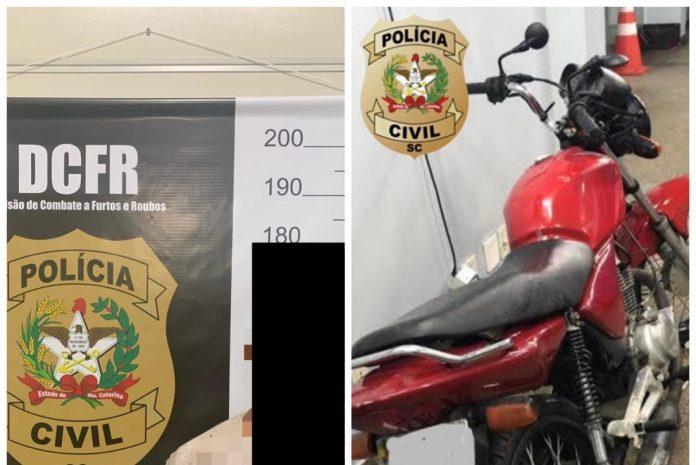 #Pracegover Foto: na imagem há uma moto e um distintivo da Polícia Civil