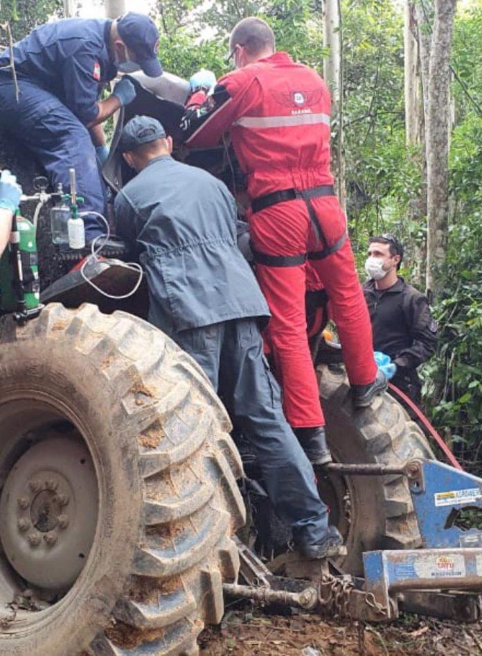 #Pracegover Foto na imagem há quatro homens, um trator e árvores