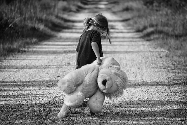 #Pracegover Na foto, uma criança caminha segurando um urso