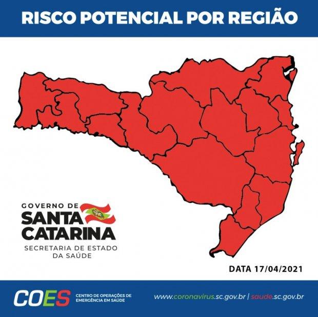 #Pracegover Na foto, mapa de Santa Catarina aparece demarcado em vermelho