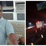 #Pracegover Na foto, à esquerda a imagem de Geraldo, à direita o local do acidente com vários carros parados, pessoas e veículo do IGP
