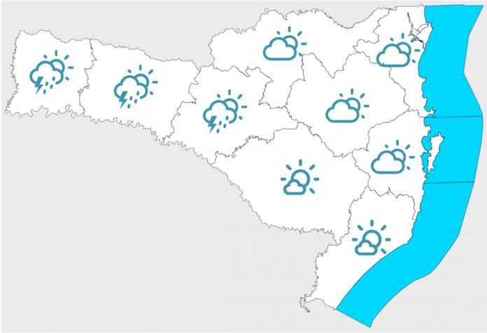 #Pracegover Na foto, mapa de Santa Catarina demarcado com a previsão do tempo por regiões