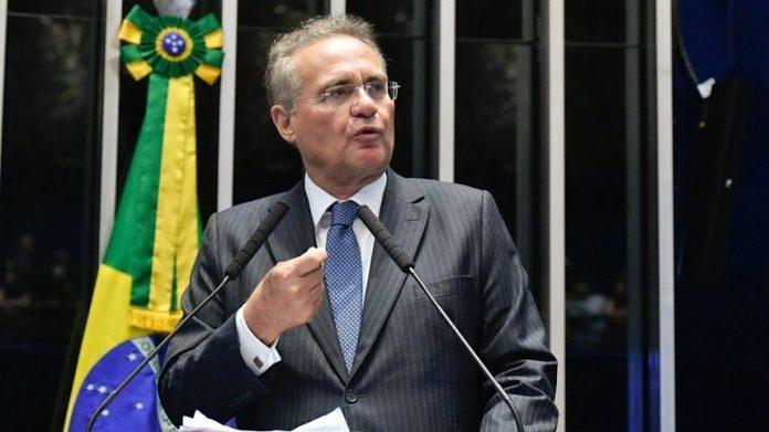 #Pracegover Na foto, Renan Calheiros aparece durante discurso no Senado