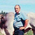 #pracegover Na foto, Titi Ghislandi aparece em frente a um boi, posando para a foto