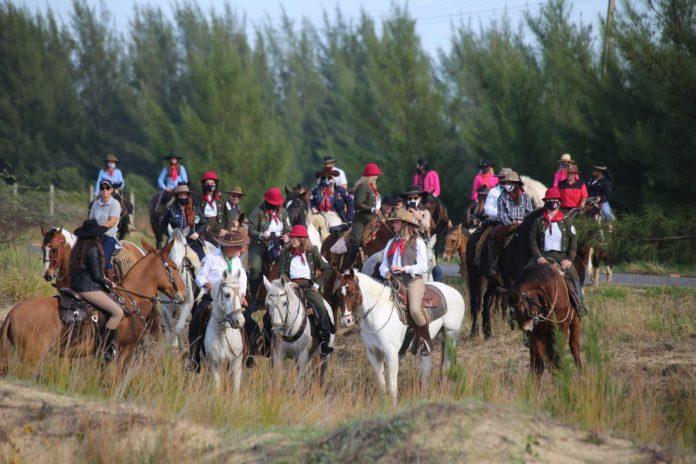 #Pracegover Foto: na imagem há pessoas, cavalos e árvores